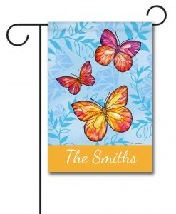 Personalized Colorful Butterfly Welcome  - Garden Flag - 12.5'' x 18''