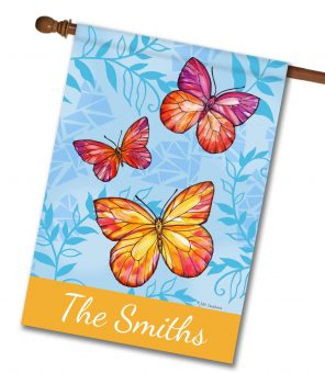 Personalized Colorful Butterfly Welcome - House Flag - 28'' x 40''