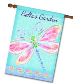 Personalized Dragonfly Welcome - House Flag - 28'' x 40''