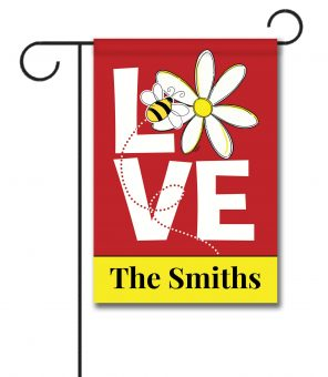 Personalized Love Bee  - Garden Flag - 12.5'' x 18''