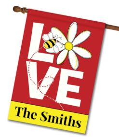 Personalized Love Bee - House Flag - 28'' x 40''
