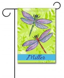Personalized Crystal Dragonflies  - Garden Flag - 12.5'' x 18''