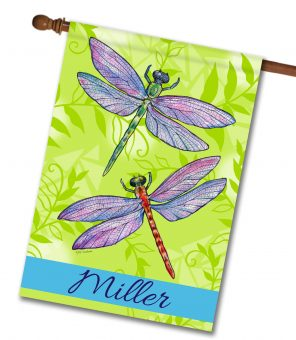 Personalized Crystal Dragonflies - House Flag - 28'' x 40''