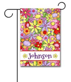 Personalized Welcome Flowers  - Garden Flag - 12.5'' x 18''