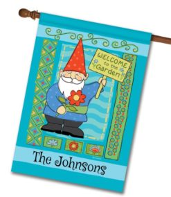Personalized Welcome to the Garden Gnome - House Flag - 28'' x 40''
