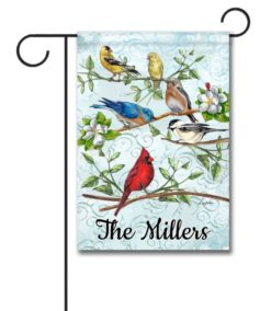 Personalized Welcome Garden Birds  - Garden Flag - 12.5'' x 18''