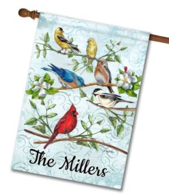 Personalized Welcome Garden Birds - House Flag - 28'' x 40''