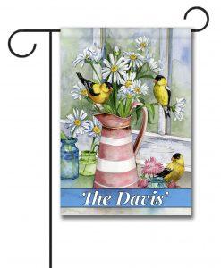 Personalized Windowsill Birds and Flowers  - Garden Flag - 12.5'' x 18''