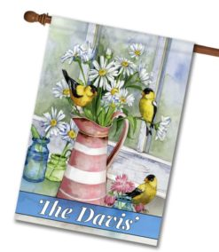 Personalized Windowsill Birds and Flowers - House Flag - 28'' x 40''