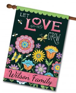 Personalized Let Love Grow Summer Garden - House Flag - 28'' x 40''