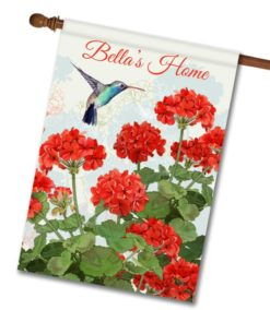 Personalized Hummingbird Welcome - House Flag - 28'' x 40''