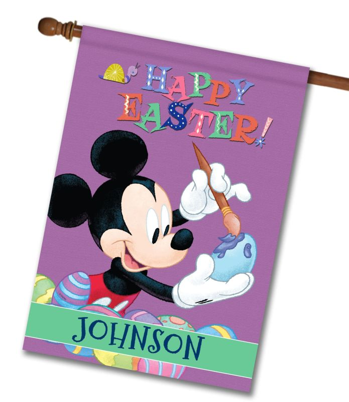 Personalized Mickey Happy Easter House Flag 28 X 40
