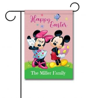 Personalized Mickey Mouse and Minnie Mouse Easter Garden Disney Flag