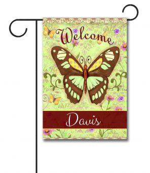 Personalized Le Belle Fleur Butterflies  - Garden Flag - 12.5'' x 18''