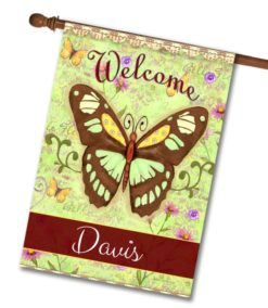 Personalized Le Belle Fleur Butterflies - House Flag - 28'' x 40''