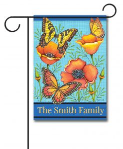 Personalized Floral Welcome  - Garden Flag - 12.5'' x 18''