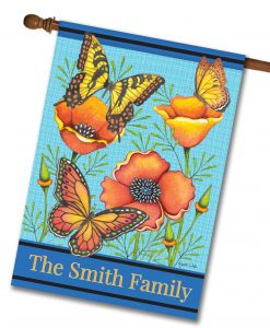 Personalized Floral Welcome - House Flag - 28'' x 40''