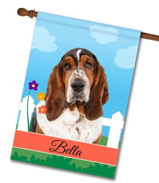 Personalized Spring Basset Hound - House Flag - 28'' x 40''