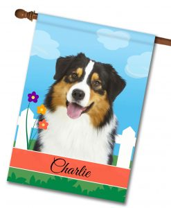 Personalized Spring Black Tri Australian Shepherd - House Flag - 28'' x 40''