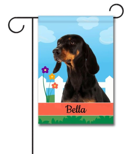 Personalized Spring Black and Tan Coonhound - Garden Flag - 12.5'' x 18''