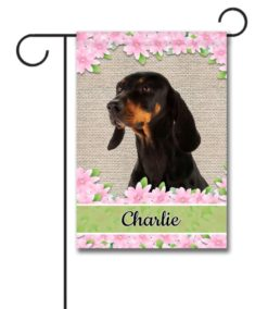 Personalized Spring Flowers Black and Tan Coonhound - Garden Flag - 12.5'' x 18''