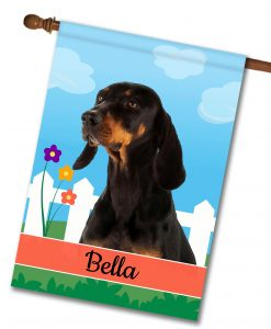 Personalized Spring Black and Tan Coonhound - House Flag - 28'' x 40''