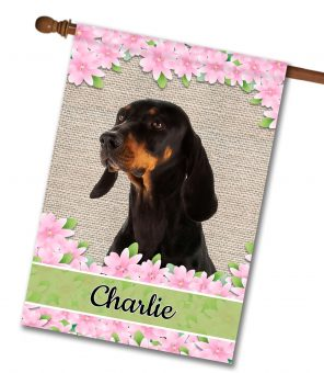 Personalized Spring Flowers Black and Tan Coonhound - House Flag - 28'' x 40''