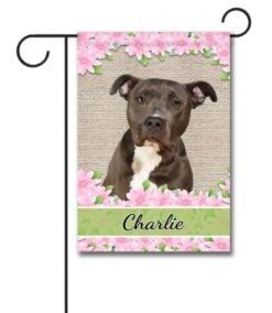 Personalized Spring Flowers Black and White American Staffordshire Terrier - Garden Flag - 12.5'' x 18''