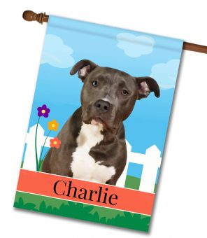 Personalized Spring Black and White American Staffordshire Terrier - House Flag - 28'' x 40''
