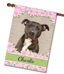 Personalized Spring Flowers Black and White American Staffordshire Terrier - House Flag - 28'' x 40''