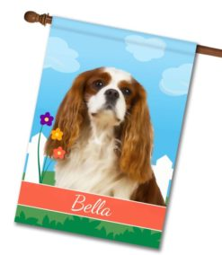 Personalized Spring Blenheim Cavalier King Charles Spaniel - House Flag - 28'' x 40''