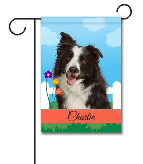 Personalized Spring Border Collie - Garden Flag - 12.5'' x 18''