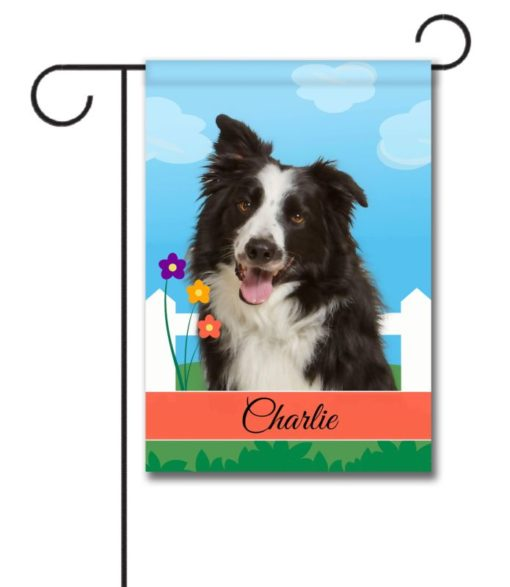 Personalized Spring Border Collie - Garden Flag - 12.5'' x 18''