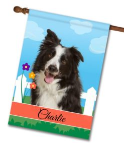Personalized Spring Border Collie - House Flag - 28'' x 40''