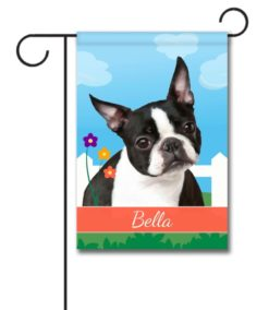 Personalized Spring Boston Terrier - Garden Flag - 12.5'' x 18''