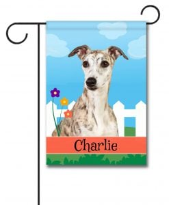 Personalized Spring Whippet - Garden Flag - 12.5'' x 18''