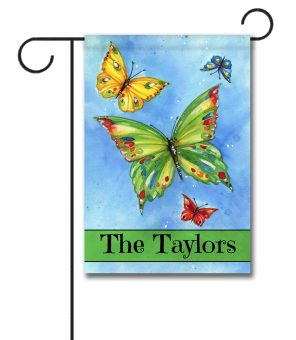 Personalized Butterfly Welcome  - Garden Flag - 12.5'' x 18''