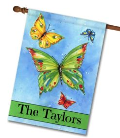 Personalized Butterfly Welcome - House Flag - 28'' x 40''