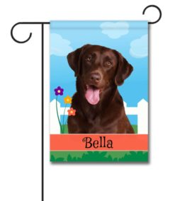 Personalized Spring Chocolate Labrador Retriever - Garden Flag - 12.5'' x 18''
