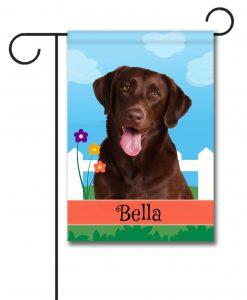 Personalized Spring Chocolate Labrador Retriever - Garden Flag - 12.5'' x 18''