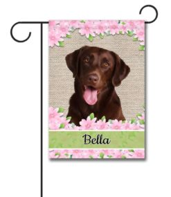 Personalized Spring Flowers Chocolate Labrador Retriever - Garden Flag - 12.5'' x 18''