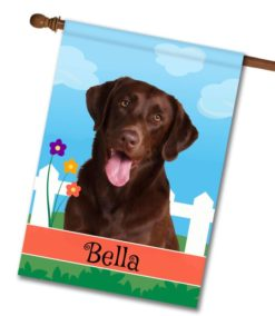 Personalized Spring Chocolate Labrador Retriever - House Flag - 28'' x 40''