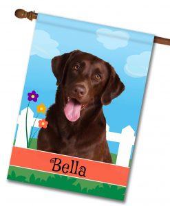 Personalized Spring Chocolate Labrador Retriever - House Flag - 28'' x 40''