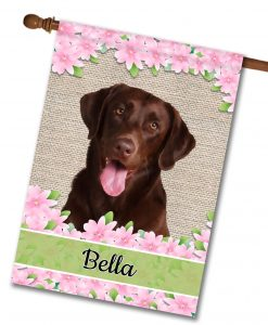 Personalized Spring Flowers Chocolate Labrador Retriever - House Flag - 28'' x 40''
