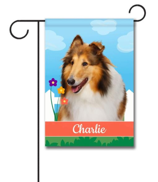 Personalized Spring Collie - Garden Flag - 12.5'' x 18''