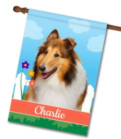 Personalized Spring Collie - House Flag - 28'' x 40''