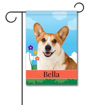 Personalized Spring Corgi - Garden Flag - 12.5'' x 18''