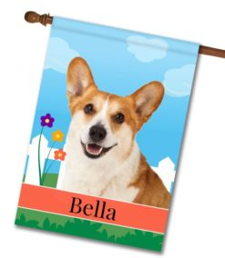 Personalized Spring Corgi - House Flag - 28'' x 40''