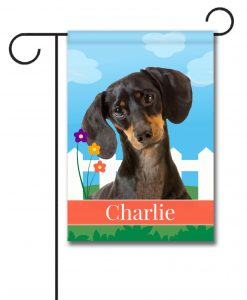 Personalized Spring Black Short Haired Dachshund - Garden Flag - 12.5'' x 18''
