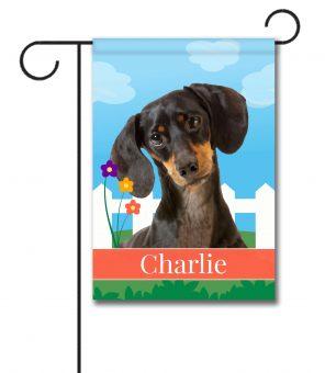 Personalized Spring Black Short Haired Dachshund - Garden Flag - 12.5'' x 18''